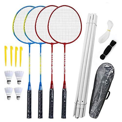 Uayasily Badmintonschläger Set-4 Person Badminton Set mit Net für Garten Easy Setup Badminton-Set für Erwachsene Kinder Kinder Familie