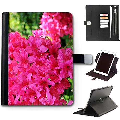Fuchsia Pink Flowers iPad Case For Apple iPad Pro 11 (2020) (2nd Gen) 11 inch, 360 Swivel Leather Side Flip Wallet Folio Cover with Stand Feature, Card Slots, Paper Slot, Pen Holder