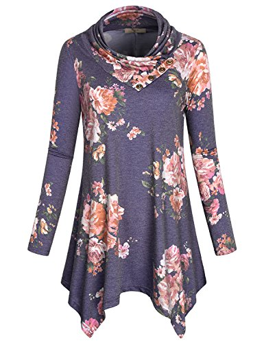Cowl Neck Sweatshirt,Cestyle Womens Long Sleeve Cowl Neck Asymmetrical Hemline Flowy Tunic Sweater Dress Business Casual Floral Printed Tops for Leggings Multi-Purple Small