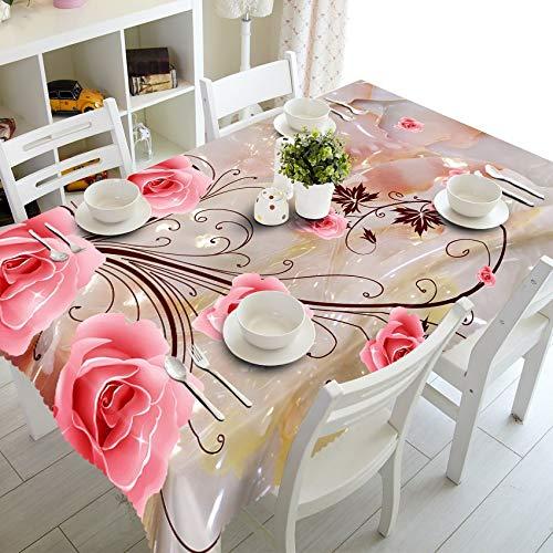 XXDD Mantel 3D Sexy Retro con patrón de Rosas, Mantel Lavable, Mantel Rectangular para repisas de Boda A6, 140x200cm