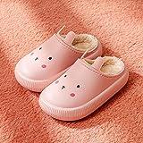 slippers mujer casa,Bolsa de zapatillas de algodón para niños con niños y niñas otoño e invierno zapatos de algodón para el hogar peludos impermeables y antideslizantes para interiores zapatillas de