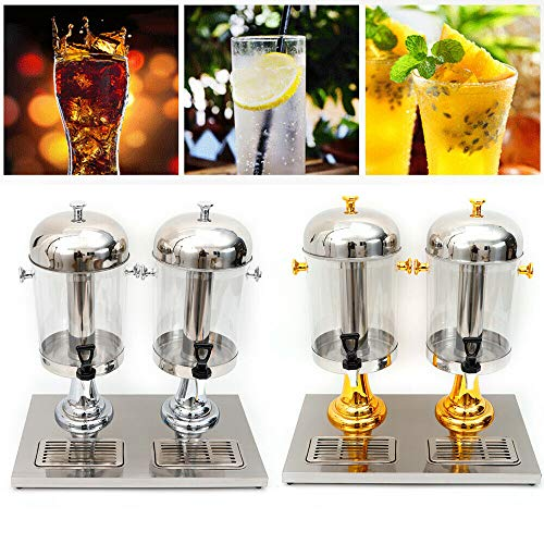 Meiney Double Beverage Dispenser Cold Drink Dispenser Tea Juice Dispenser Large Capacity Clear Wall Buffet Tool for Home Party Restaurants Bar Wedding 2x8L (Gold)