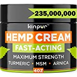 Kinpur Natural Hemp Cream - Potent Discomfort Recovery for Joints, Hips, Back, Neck, Knees, Elbow, 4 Ounce