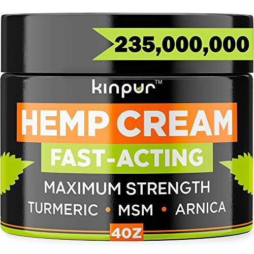 Natural Hemp Cream - Potent Discomfort Recovery for Joints, Hips, Back, Neck, Knees, Elbows - Relaxation and Comfort - Maximum Strength - Hemp Oil Extract Gel with MSM, Hemp Emu Oil, Arnica, 4 oz