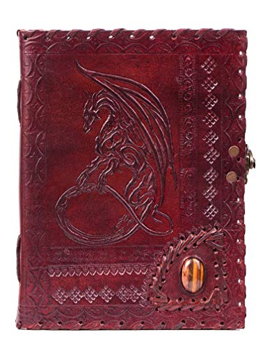 Handmade Large 8' Embossed Leather Journal Celtic two latches blue stone blank personal Diary notebook refillable journal gift (dragon with stone)