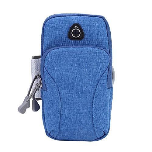 Jopwkuin Bolsa para teléfono, Bolsa para Exteriores fácil de Usar con Conector para Auriculares Bolsillos Dobles Grandes Material de Tela Oxford para Adultos para Ciclismo(Light Blue)