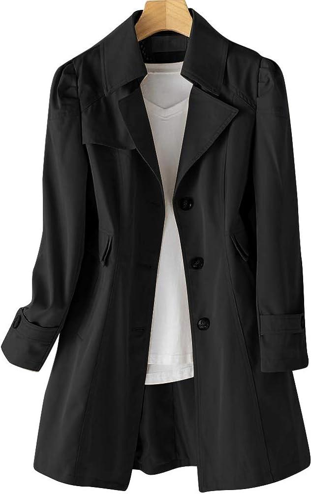 IDEALSANXUN Womens Casual Single Breasted New Atlanta Mall product Midi Coat Jacke Trench