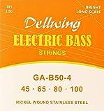 Dellwing Bass Saiten - Premium Basssaiten Für Die E Bass Gitarre - 4-Saiten-Satz In TOP-Qualität - w.045 w.100