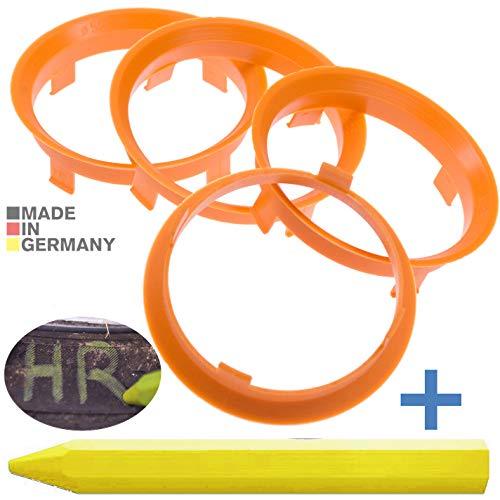 RKC 4X Anneaux de centrage Noirs 71,6 mm x 67,1 mm de centrage 1x Crayon de Cire en Vert Made in Germany