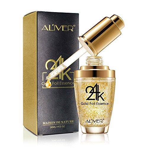 24 Karat Gold Essenz Kollagen Haut Gesicht Feuchtigkeitsspendende Hyaluronsäure Anti-Aging-Maske Feuchtigkeitsspendende Straffende für Frauen Hautpflege