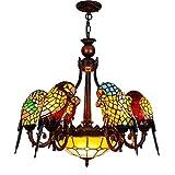 Techo de la sala Luz estilo europeo clásico creativo del pájaro del loro decorativa lámpara de Tiffany barra de la lámpara soporte de bronce rojo salón comedor dormitorio araña de café de cristal de c