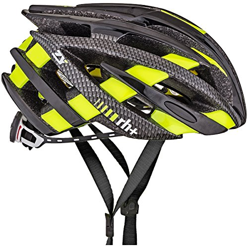 rh+(アールエイチプラス) ヘルメット ヘルメット ゼット・ワイ [ZY] シャイニーブラック/カーボンルック/ブリッジシャイニーイエローフルオ XS/M(54-58) 240g JCF公認 EHX6055 59