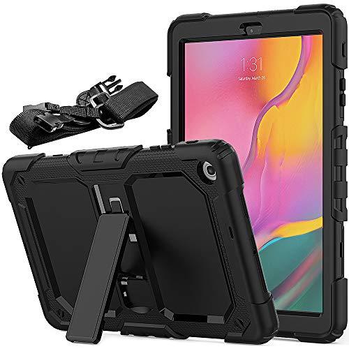 FAN SONG Funda para Samsung Tab A 10,1 T510 2019, Carcasa Resistente Silicona de Golpes con Función de Soporte y Bandolera para Samsung Galaxy Tab A SM-T510/SM-T515 2019 10,1 Pulgadas- Negro