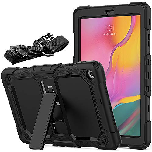 FANSONG Funda para Tablet Samsung Galaxy Tab A 10,1 Pulgadas(SM-T510 / T515, Modelo2019) Funda Compatible con Samsung Tab A 10.1 2019 Resistente Silicona con Función de Soporte y Bandolera