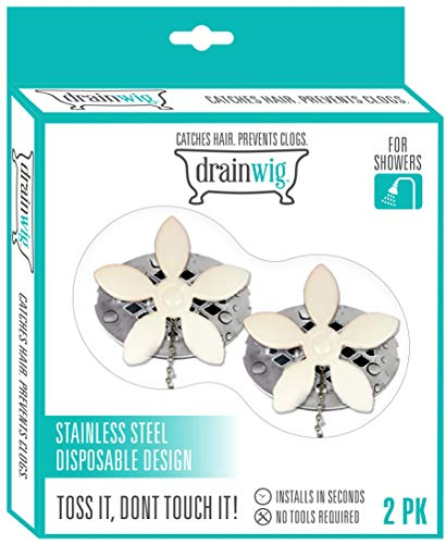 DrainWig Shower Drain Protectors as Seen on Shark Tank, Disposable Hair Catchers, Flower, Pack of 4