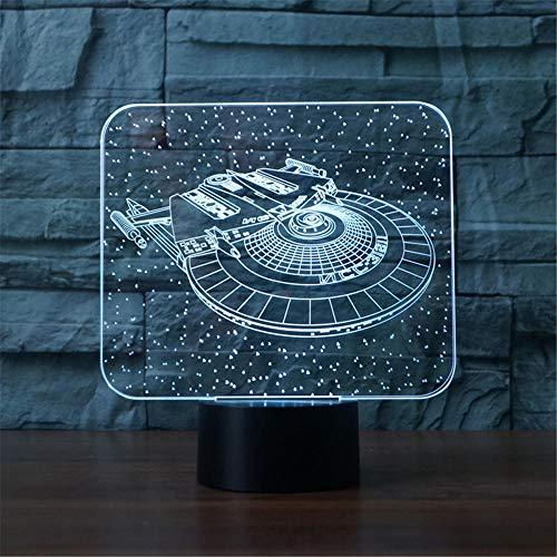 3D LED noche luz Star Trek ilusión lámpara 16 cambio de color decoración lámpara - regalos para niños y aficionados al anime