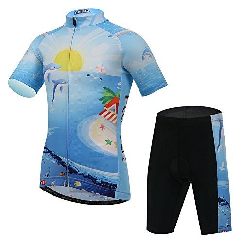 LPATTERN Kinder Jungen/Mädchen Radtrikot-Set Radsport Anzug(Fahrrad Trikot Kurzarm + Radhose), Delphin, 122/128(Label: L)