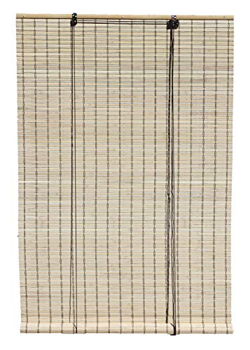 Seta Direct, Natural Bamboo Slat Roll Up Blind - 84-Inch Wide by 72-Inch Long