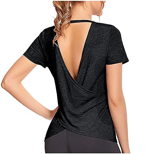 YANFANG Camisetas De Mujer,Tops Entrenamiento Manga Corta para Mujer Tops Yoga AtléTicos con Espalda Abierta Gimnasio,Top Deportivo Color SóLido Mujer,Camisas Nuevo Blusas Sexy