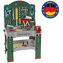 Theo Klein 8580 Work station Bosch, 44 pezzi, Banco da lavoro incl. piano di lavoro con funzione di