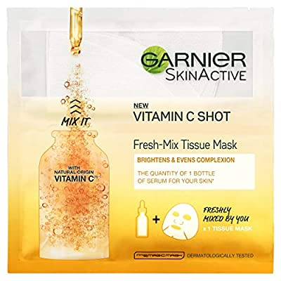 Garnier Fresh-Mix Tissue Mask, Vitamin C Brightening Tissue Face Sheet Shot Mask 33 g