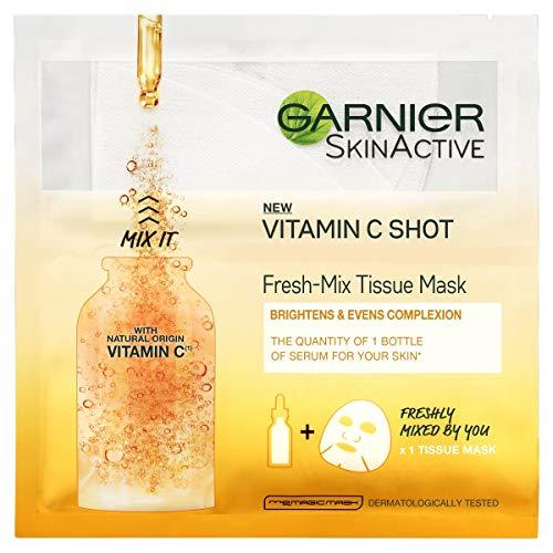 Garnier Fresh-Mix Tissue Mask, Vitamin C Brightening Tissue Face Sheet Shot Mask 33 g