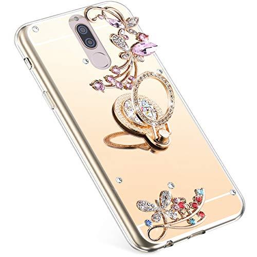 Uposao Compatible con Huawei Mate 10 Lite Funda Mirror,[ 360 Grado Anillo Soporte ],Flores Strass Brillante Brillo Diamante Glitter Funda TPU Silicona Suave Flexible Funda Caja Carcasa,Dorado