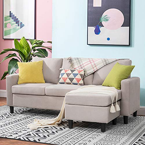 Walsunny Convertible Sectional Sofa for Small Space L-Shaped Couch with Modern Linen Fabric (Beige)