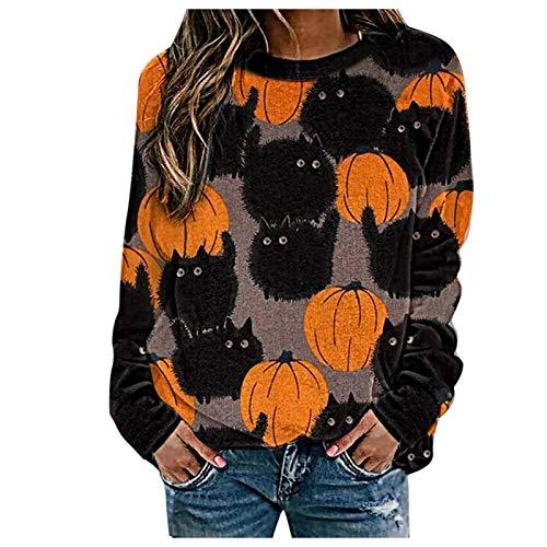 Sudaderas Hoodie Mujeres Disfraz De Halloween Impreso Cuello Redondo Casual Manga Larga Otoo Invierno Camisas Casual Unisex Patrn De Hallo