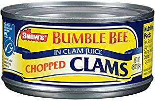 SNOW'S BY BUMBLE BEE Chopped Clams, 6.5 Ounce Can (Case of 12), Canned Clams, Gluten Free, High Protein, Keto Food, Keto S...