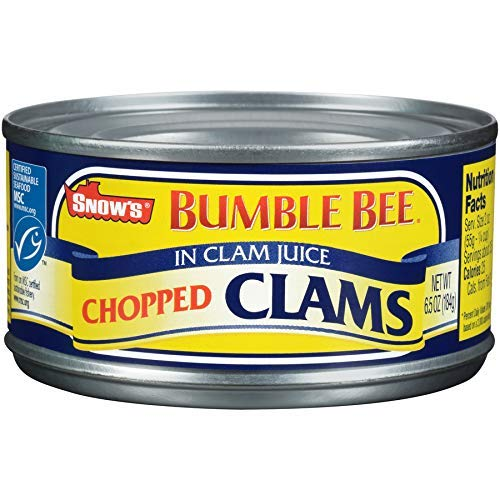 SNOW'S BY BUMBLE BEE Chopped Clams, 6.5 Ounce Can (Case of 12), Canned Clams, Gluten Free, High Protein, Keto Food, Keto Snacks, Paleo Diet Food, Canned Food