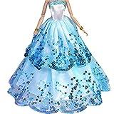 WayIn Magnifique Robe de soirée à la Main avec Paillettes pour La Poupées Mannequinse (Bleu A)