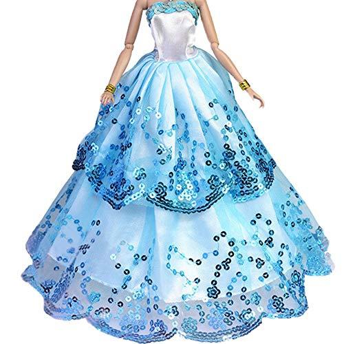 Abendkleid Ballkleid Prinzessin Kleidung Dress Bekleidung für Puppen Weihnachten Party Geschenke (Blau)