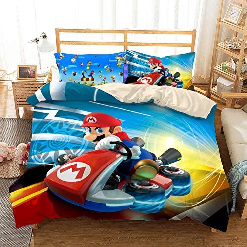 DWSM - Juego de ropa de cama 3D de 3 piezas, diseño de Super Mario Bros con impresión de dibujo animado, funda de edredón + 1/2 funda de almohada, 100% microfibra (02,220 x 240 cm)