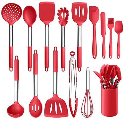 LIANYU 15-Piece Cooking Kitchen Utensils Set with Holder, Silicone Kitchen Tools Stainless Steel Handle, Slotted Spatula Spoon Turner Tong Whisk Brush for Cooking, Red
