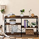 50' 3-Tier Console Table for Entryway, Hallway,Industrial Wood Narrow Entry Sofa Table for Living Room,Black Metal Frame with Open Storage Shelves