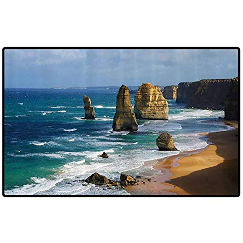 RenteriaDecor Seaside Decor Collection Floor Mats Australia Rock Face Lookout by The Sea Sightseeing Panoramic Picture Outdoor Area Rugs for Sofa/Living Room/Dining Room/Bedroom