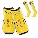 Homo Trends Football Shin Pads, 3 Sizes Soccer Shin Guards Socks, Shin Pads Boys, Kids Football Socks for Boys And Girls Football Games Leg Calf Protective Gear (Yellow) (M)