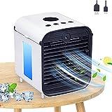 Air Mini Cooler, 3 en 1 Climatizador Evaporativo, Aire Acondicionado Portátil, Frio Ventilador Humidificador Purificador de Aire, Nuevo Filtros(Blanco)