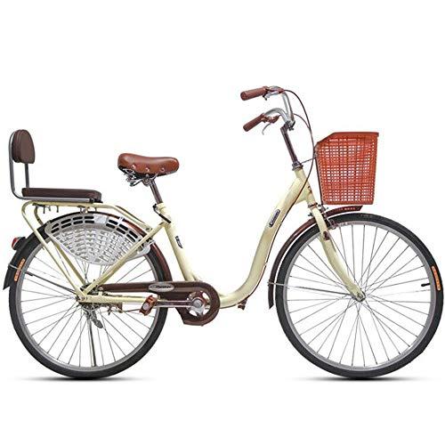 JHKGY Estudiantes Masculinos Y Femeninos Que Viajan En Bicicleta,Bicicleta De Crucero De Playa De Una Velocidad,con Cesta De La Compra,para Personas Mayores, Hombres Unisex,Beige,26 Inch