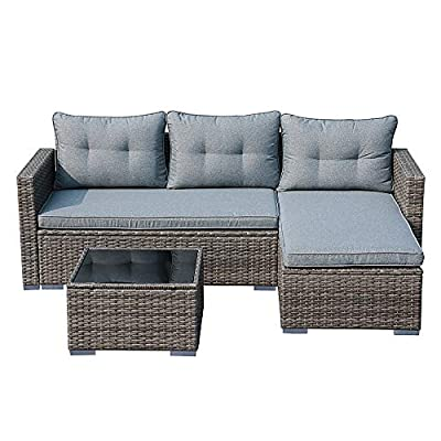 JOIVI Patio Conversation Set, PE Wicker Rattan Outdoor Furniture Set, 2 Ways Sectional Sofa Lounge and Love Seat with Cushions, Tempered Glass Coffee Table, Silver-Gray