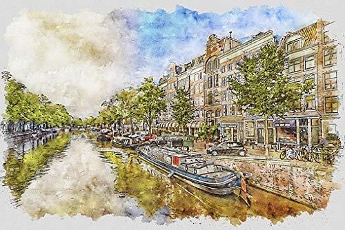 WOMGD® Landschap Legpuzzel, Amsterdamse gracht Storm Aquarel Houten puzzels van 1000 stukjes, Educatief spel Speelgoed voor kinderen Kinderen Volwassenen