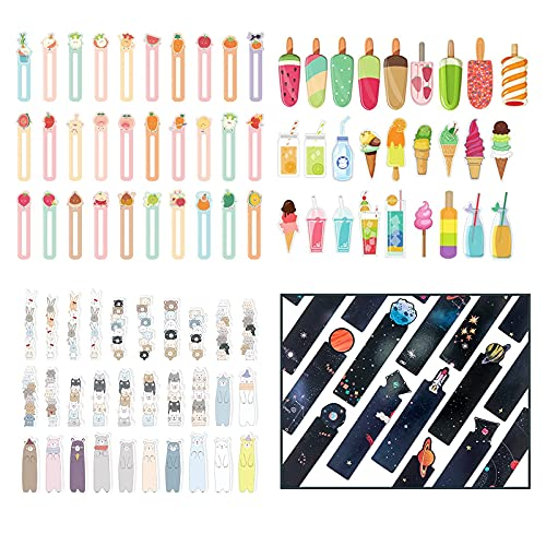 JTHRA 120 PCS Popsicle Ice Cream Bookmarks,Summer Watercolor Fruit Drink Animal Theme Stationery Paper Bookmarks for Students, Kids and Adults