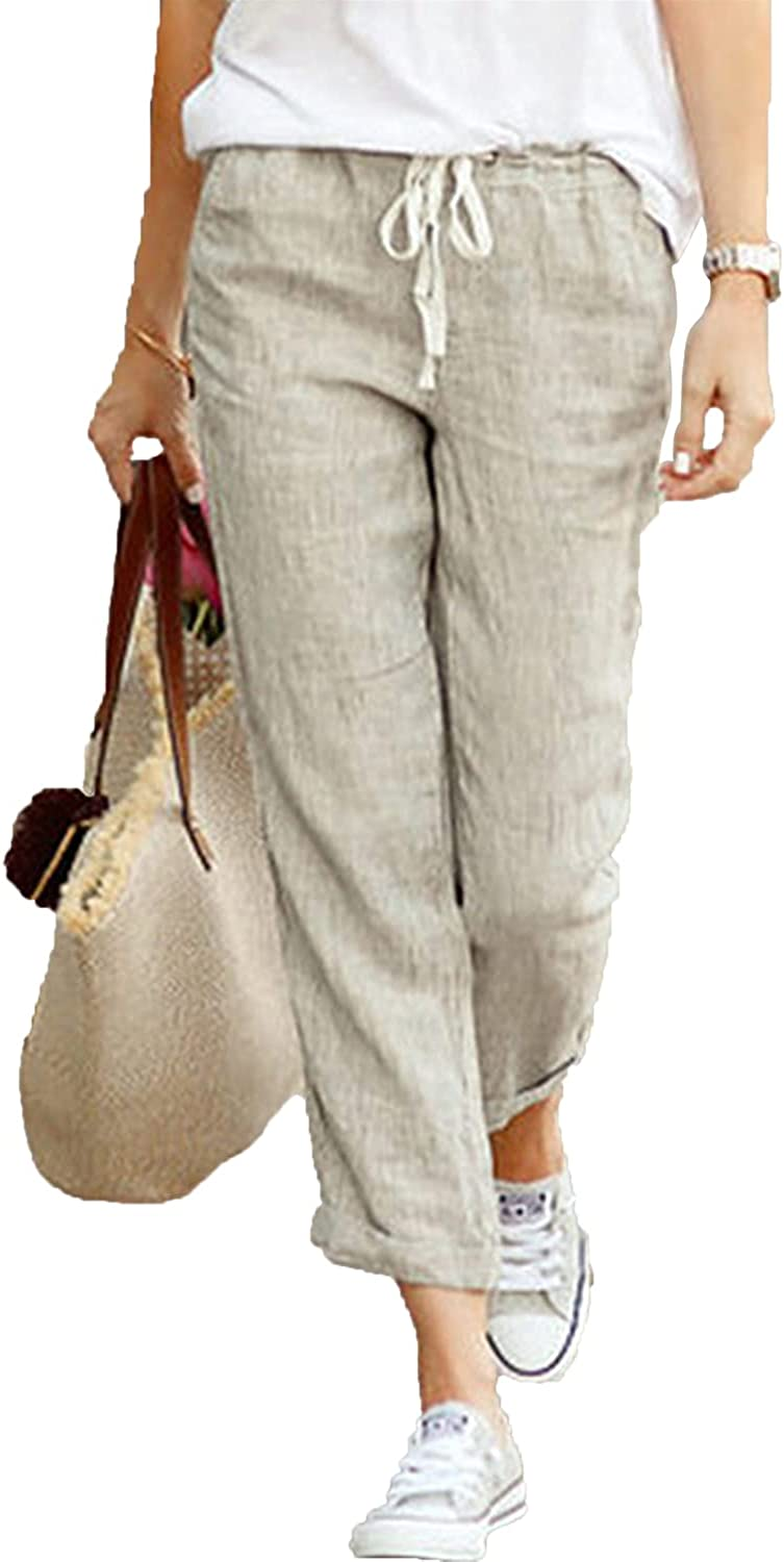 Women's Drawstring Trousers Tapered Cotton Linen Back Elastic Waist Casual Pants Jogger Bottom Lounge Sportpants (Small,Gray)