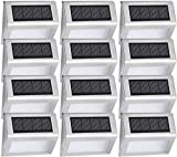 Easternstar Solar Powered Deck Lights Wireless Bright 4 LED Stair Lights Waterproof Stainless Steel Outdoor Lighting for Step Driveway Fence Pathway Staircase (12 Pack)