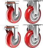 FTYYSWL X4 Heavy Duty Ruedas industriales con frenos muebles Ruedas de goma a prueba de polvo silencioso con 16 tornillos-75mm_SIN Freno