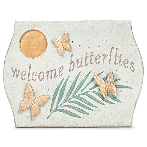 Grasslands Road Welcome Butterflies Butterfly Puddler - Butterfly Feeder - Garden Décor - Yard Décor, Resin, 7 1/2 by 10 1/4 by 1/2 Inches