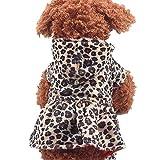 ZEZKT Mascotas Perros Leopardo Vestido Cachorro algodón Sudadera con Capucha Ropa para Mascotas Estampada de Moda Abrigo con Capucha