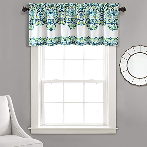 "Lush Decor, Blue and Green Clara Valance Paisley Damask Print Bohemian Style Single Curtain, 18"" x 52"