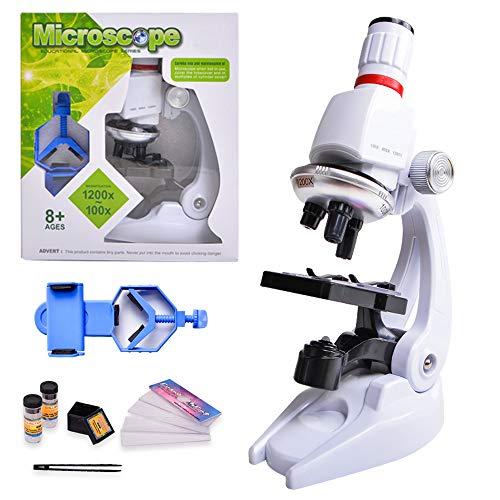 Microscopio HONPHIER Microscopio Bambini Giocattolo per Bambini Kit microscopio Biologico Bambini Scientifico Microscopio 100x 400 x 1200x Ingrandimento Microscopio con Supporto Telefono
